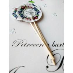 """Topper Candy Bar 5cm """"Happy wedding day"""" mov-albastru"""
