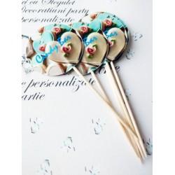 "Topper Candy Bar 5cm ""Candy Bar Blue inima flori"""