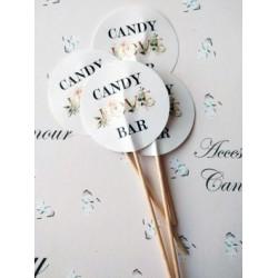 "Topper Candy Bar 5cm ""Candy Bar LOVE auriu """