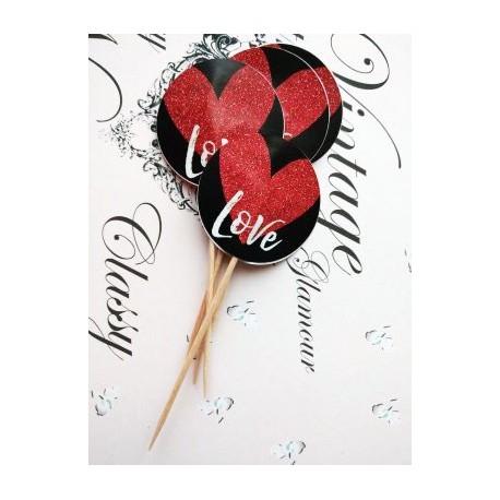 """Topper Candy Bar 5cm """"Negru , love, inima rosie"""""""