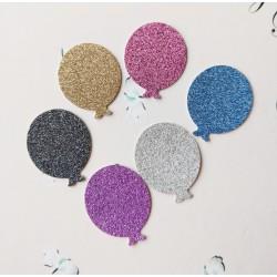 Set 30 baloane decupate carton cu sclipici, culori mixt