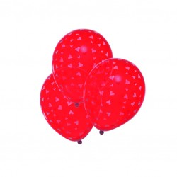 Baloane Rosii cu Inimi Alba Set 6